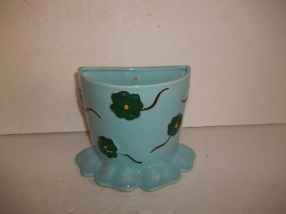 Vintage Blue Ceramic Green Clover Shamrock Wall Pocket Vase Mid Century Retro