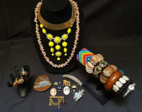 Lot of earrings necklaces brooches bangle bracelets rings