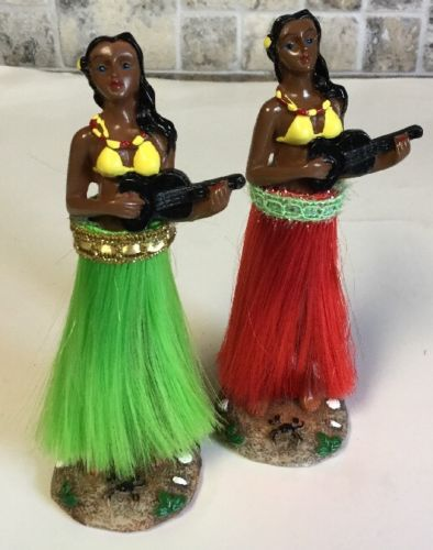 Hula Girl Bobble Figure Dolls w/Adhesive Mount 4 Dashboard/ 2 Per Box EUC