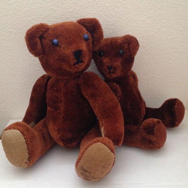2 Charming Vintage Artist Jointed Teddy Bear Mama & Baby Pair Set OOAK