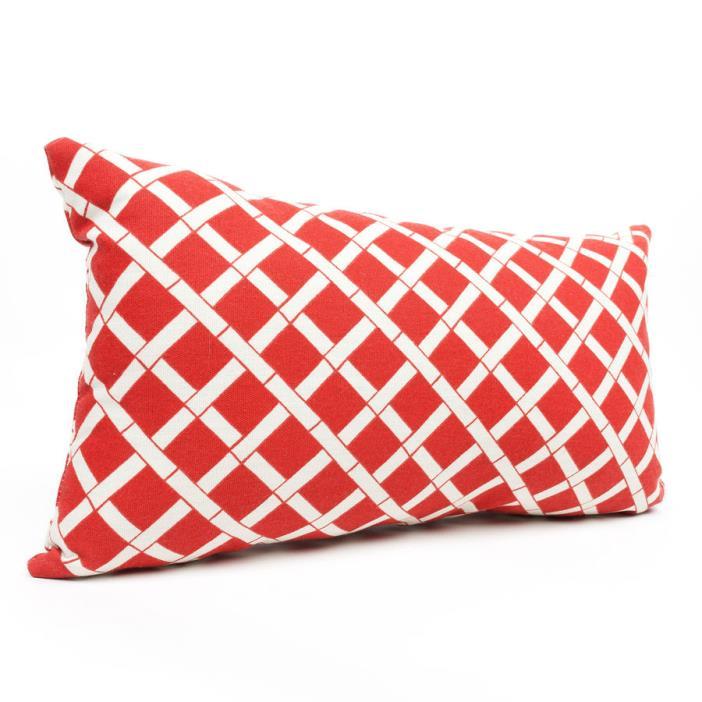 Red Bamboo Geometric Rectangular Outdoor Decorative Pillow Home Decor Living