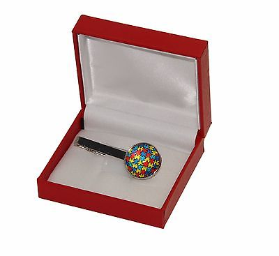 New Men's Autism Awareness Puzzle Piece Tie Clip and Gift Box