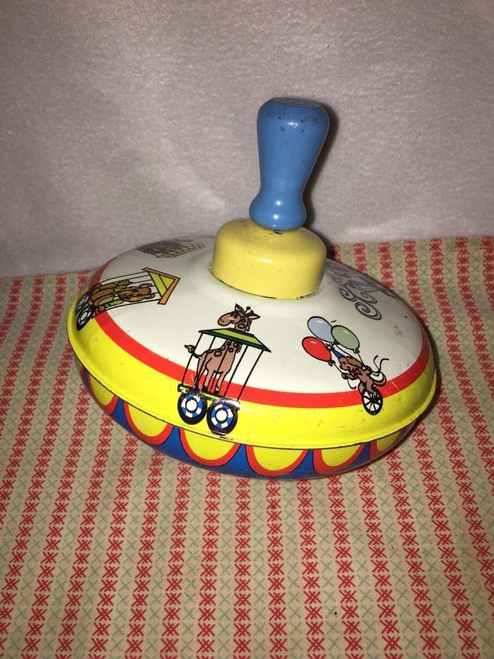 Antique Vintage Tin Toy Spinning Top. Circus train, circa-1960 Ohio art-Byron OH