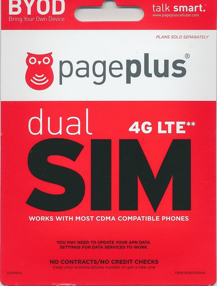 Page Plus Dual SIM Kit Verizon 4G LTE Preloaded First Month $55 Free Prefunded