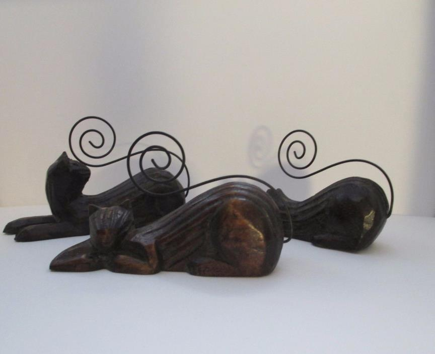 Vintage Pier 1 Photo Holder Set of Three Wooden Cats with Curly Wire Tails