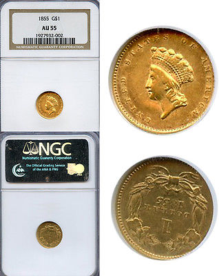 1855 $1 Gold Coin NGC AU55