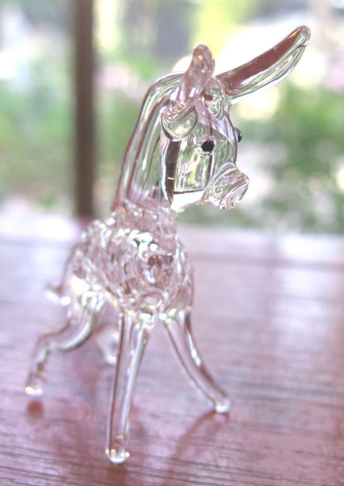 Burro DONKEY Blown Glass Figurine Vintage Glass Art Animal Small Collectible Cu*