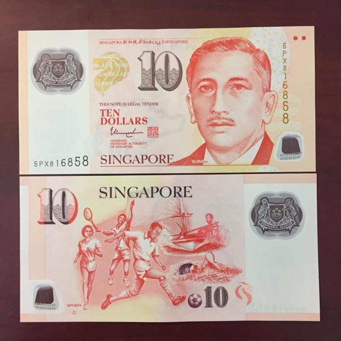 Singapore 10 (Ten) Dollars Bank Note Sports Great Condition