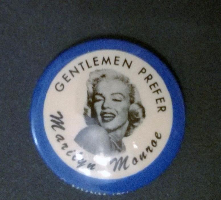 Marilyn Monroe - Vintage Gentlemen Prefer Marilyn Monroe Pin Back Button