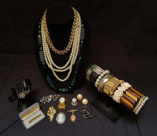 Lot of earrings necklaces watch bracelets bangles rings