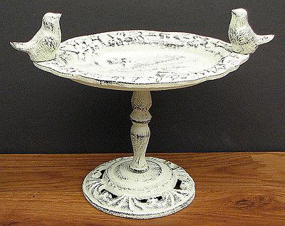 CAST IRON - Birdbath  W/Birds  Rustic Antique White Bird Feeder  Table Decor