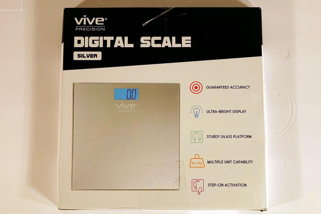 Vive Precision Digital Bathroom Scale Accurate Weight Scale Backlit - Silver