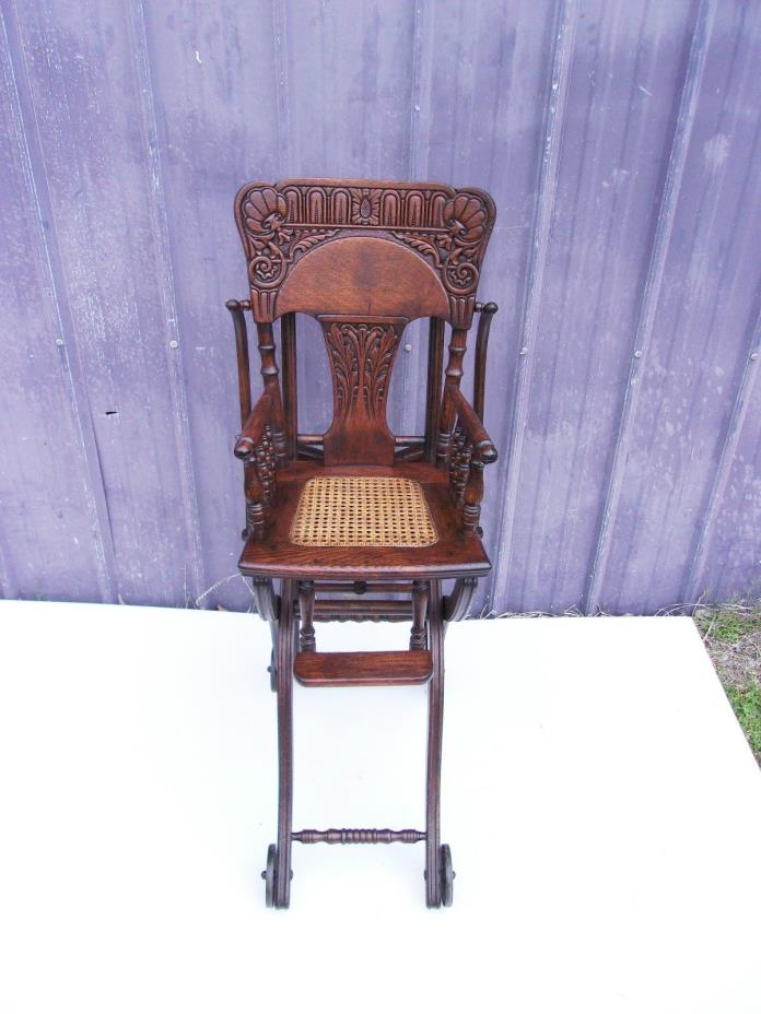 ANTIQUE OAK HIGH CHAIR-STROLLER-OLD FINISH-SELLING OUT MAKE OFFER