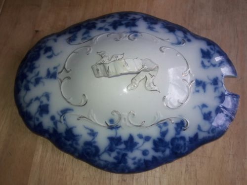 Antique WH Grindley FLOW BLUE VEGETABLE SOUP TUREEN LID ONLY