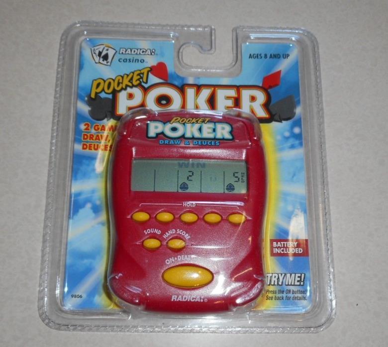 Radica Pocket Poker SEALED NEW Draw & Deuces Electronic Handheld Game Red 9806