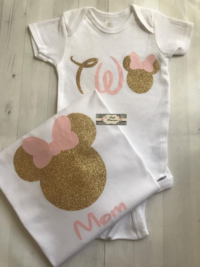 Mother Daughter Birthday Shirt Set 1 Onesie & 1 Mom Tee, Minnie Mouse, Any Sizes