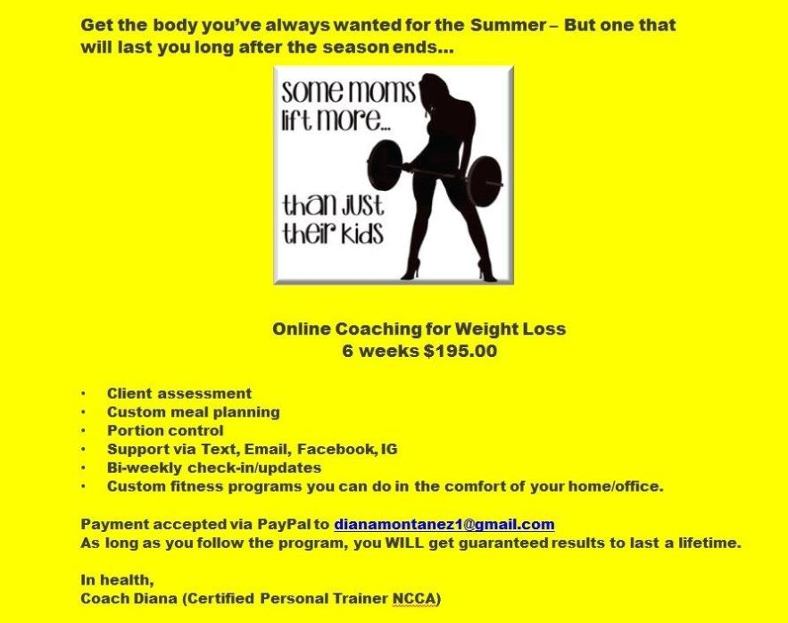 Weight Loss & Fitness program customized just for MOM!