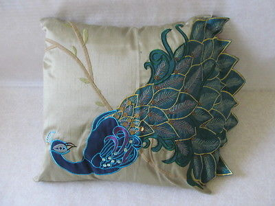VERN YIP HOME DECORATIVE EMBELLISHED PEACKOCK PILLOW 16 X 16