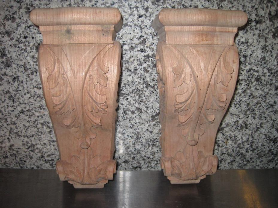 2 Carved Cherry Wood Acanthus  Corbel