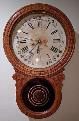 LM ANTIQUE Seth Thomas 8 Day Calendar Oak Wall School Style Clock Timepiece RARE