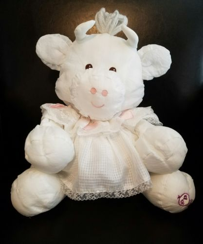 Vintage Fisher Price PUFFALUMP White Cow in Dress with Hearts