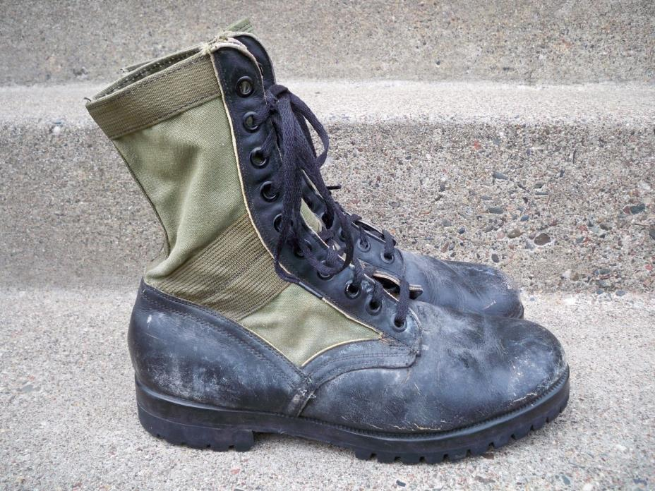 VTG Cat's Paw Military Jungle Combat Boots Green & Black Leather Men's Size 10