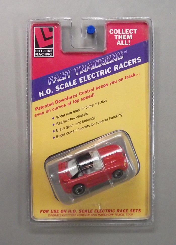 Life Like Ford Mustang HO Scale Slot Car, Fast Trackers M Chassis - Red
