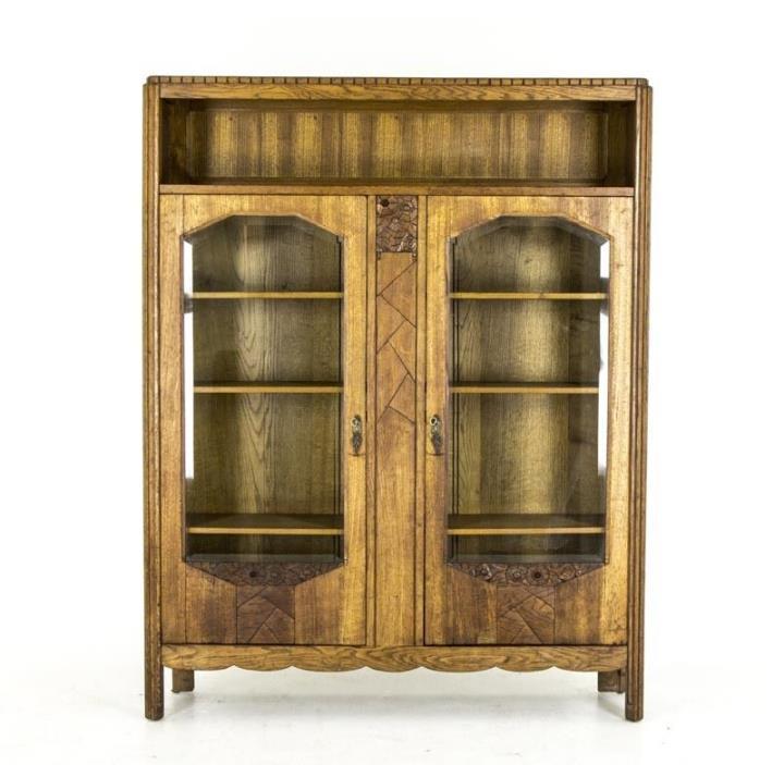 B446 Antique Scottish Art Deco 2 Door Bookcase, Display Cabinet with Bevel Glass