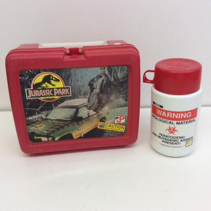 1992 Universal Studios Jurassic Park Red Plastic Lunch Box w/ Thermos