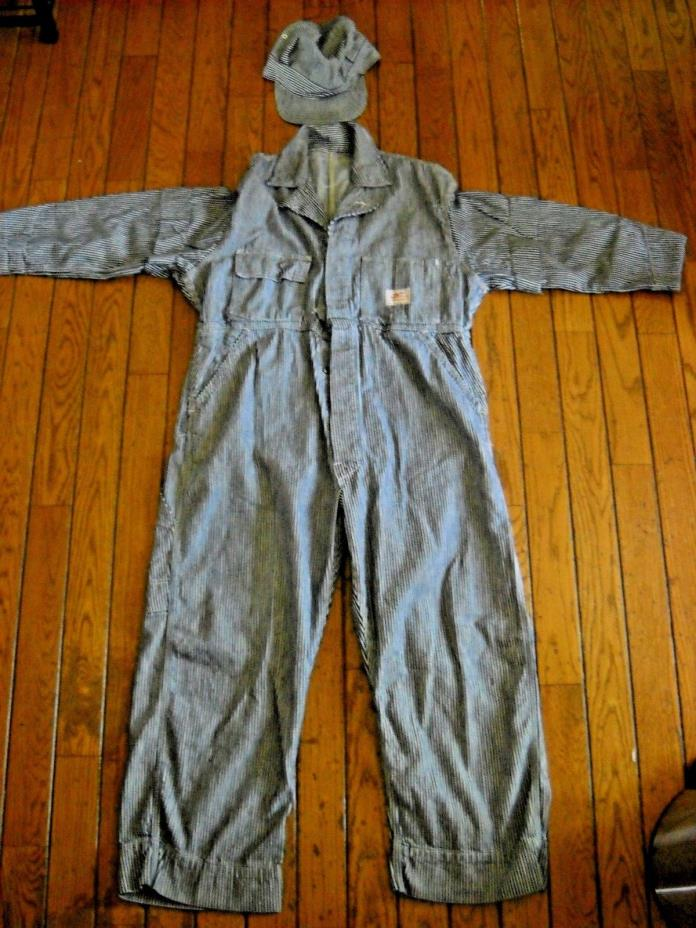 VINTAGE TRAIN ENGINEER BLUE/WHITE STRIPED OVERALLS AND MATCHING HAT * NATION-ALL