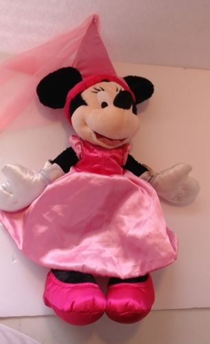 Disney World Princess Minnie Mouse Pink Dress Plush Stuffed Animal Doll Satin
