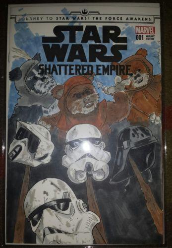 Star Wars Ewok original art on sketch cover marvel