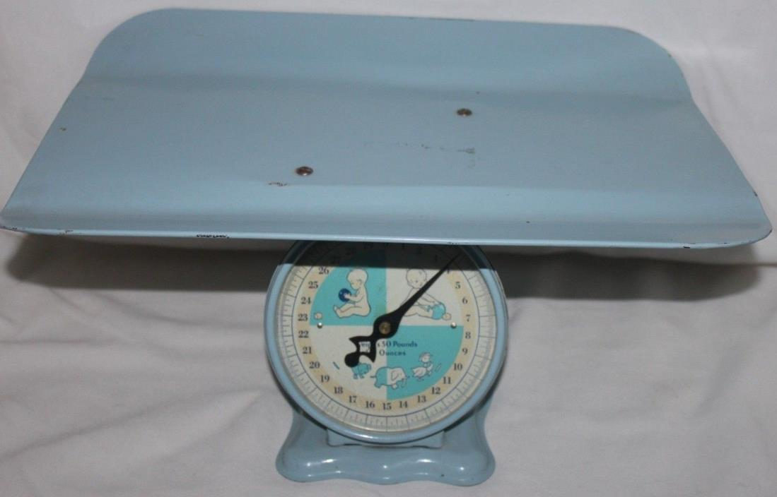 VINTAGE RETRO BABY SCALE 50'S 60'S BLUE 30 pounds PHOTO OP