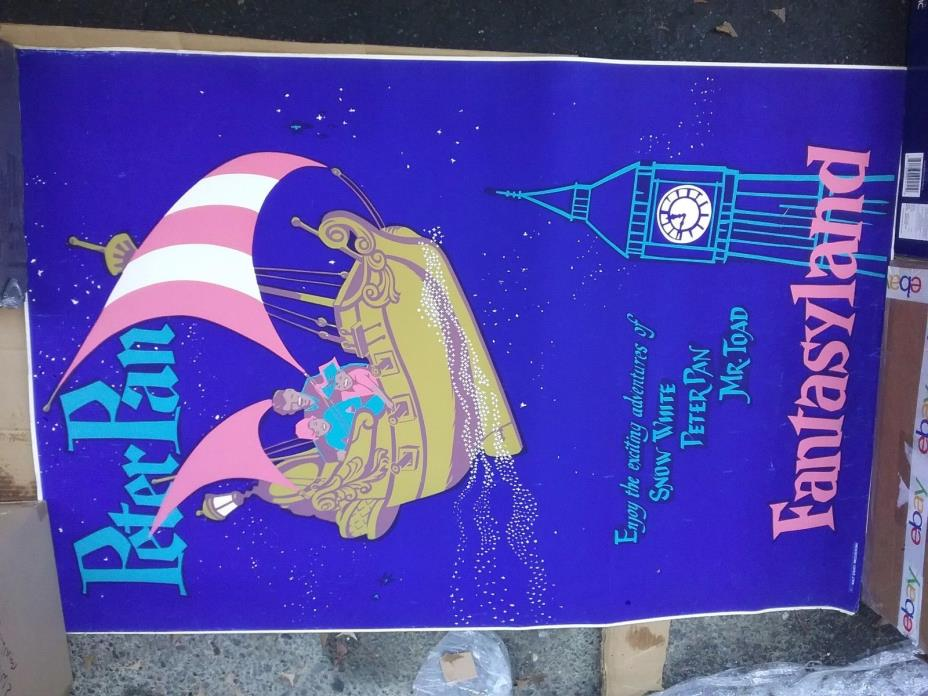 DISNEYLAND FANTASYLAND 1960s POSTER DAYGLO SILKSCREEN VG CREASES IMPOSSIBLE! HTF