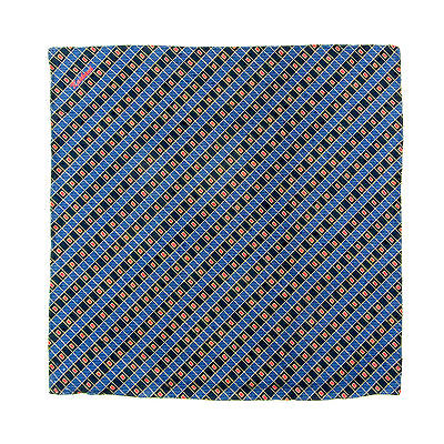 New KASHANI Handmade Navy Red Geometric Silk Pocket Square Handkerchief $150