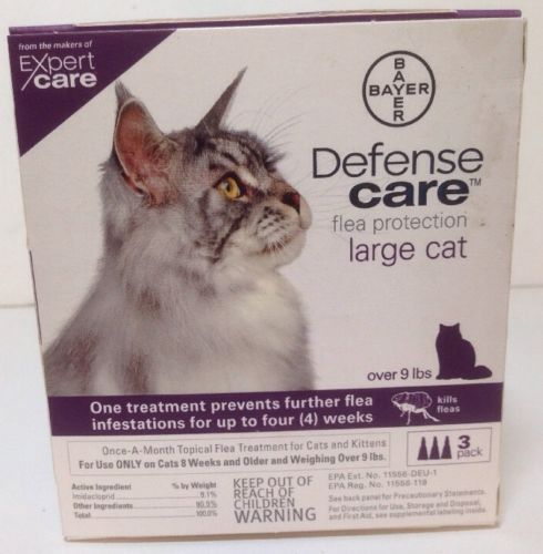 NEW  Bayer Defense Care Flea Protection for Large Cats over 9lbs 3 Pack