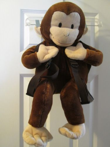 "Curious George Backpack Plush Brown Large 22"" Head is Hand Puppet Wildkin"