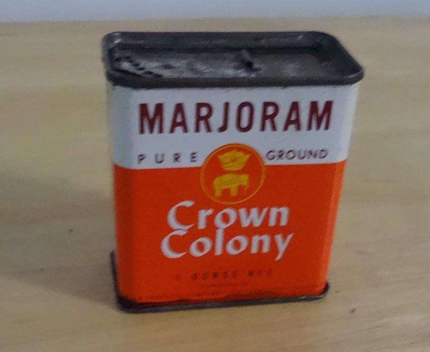 VINTAGE- PURE GROUND CROWN COLONY SPICE MARJORAM  1 0Z