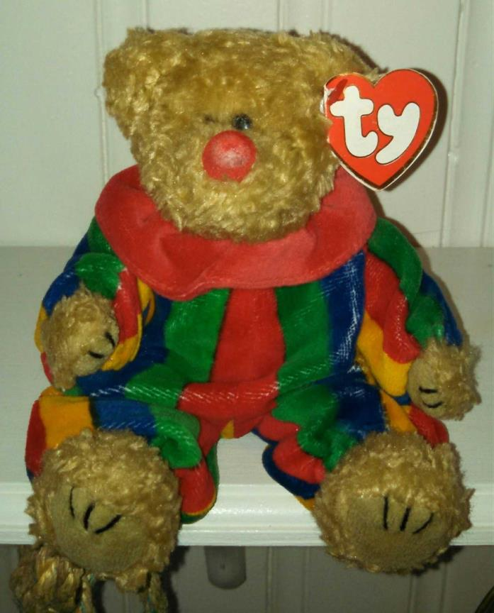 TY Attic Treasures PICCADILLY Red Nose Bear /Retired in 2000 PVC Pellets