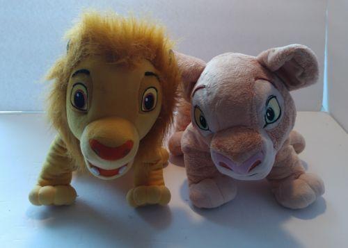 Lot 2 Disney The Lion King Young Simba and Nala Large Plush 16