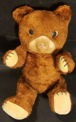 Antique Jointed Brown Hand Sewn Teddy Bear W/ RockaBye Music Box