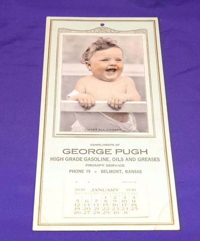 VINTAGE 1930'S WALL CALENDAR BABY STANDING IN CRIB GASOLINE, OILS & GREASES