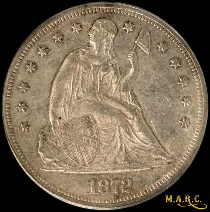 1872 AU55 PCGS 1$ Seated Liberty Dollar, Bright Surfaces, Nice Problem Free Coin