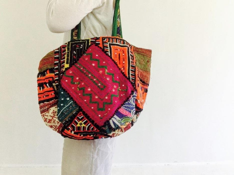 Vintage Banjara Boho Embroidered Shoulder Bag Purse. Mirror work, Tribal