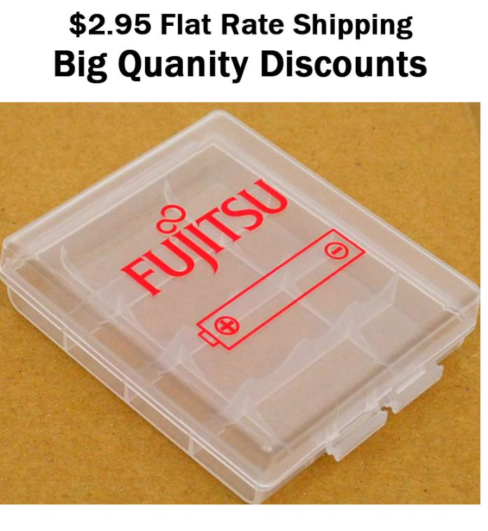 Fujitsu Quality 4 cell AA AAA battery case holder hard plastic storage box