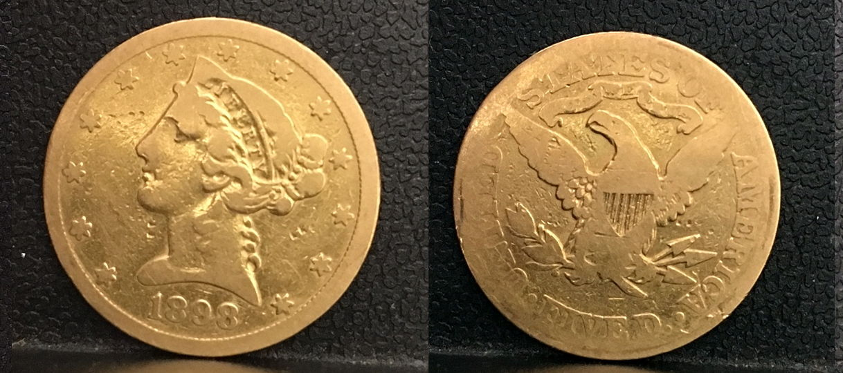 1898 USA FIVE DOLLAR LADY LIBERTY GOLD COIN---HARD SOUND MONEY THEN---CIRCULATED