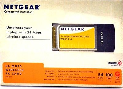 New NIB Netgear 54 Mbps Wireless PC Card WG511 v2 in Box 100 Feet Coverage