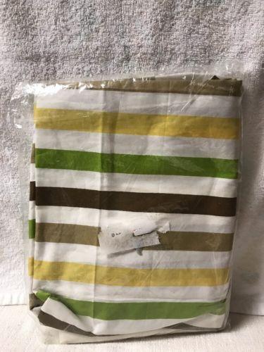 Bacati - Green/Yellow/Chocolate Stripes curtain Panel