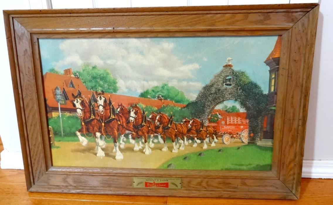 Vintage Grants Farm Budweiser Clydesdale Advertising Framed Picture