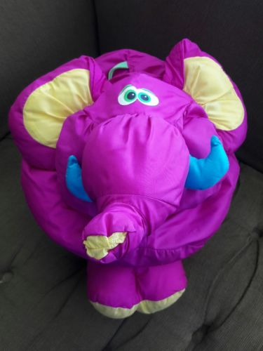 Vintage 1994 Fisher Price BIG THINGS Plush Purple  Lion Puffalump Stuffed Animal